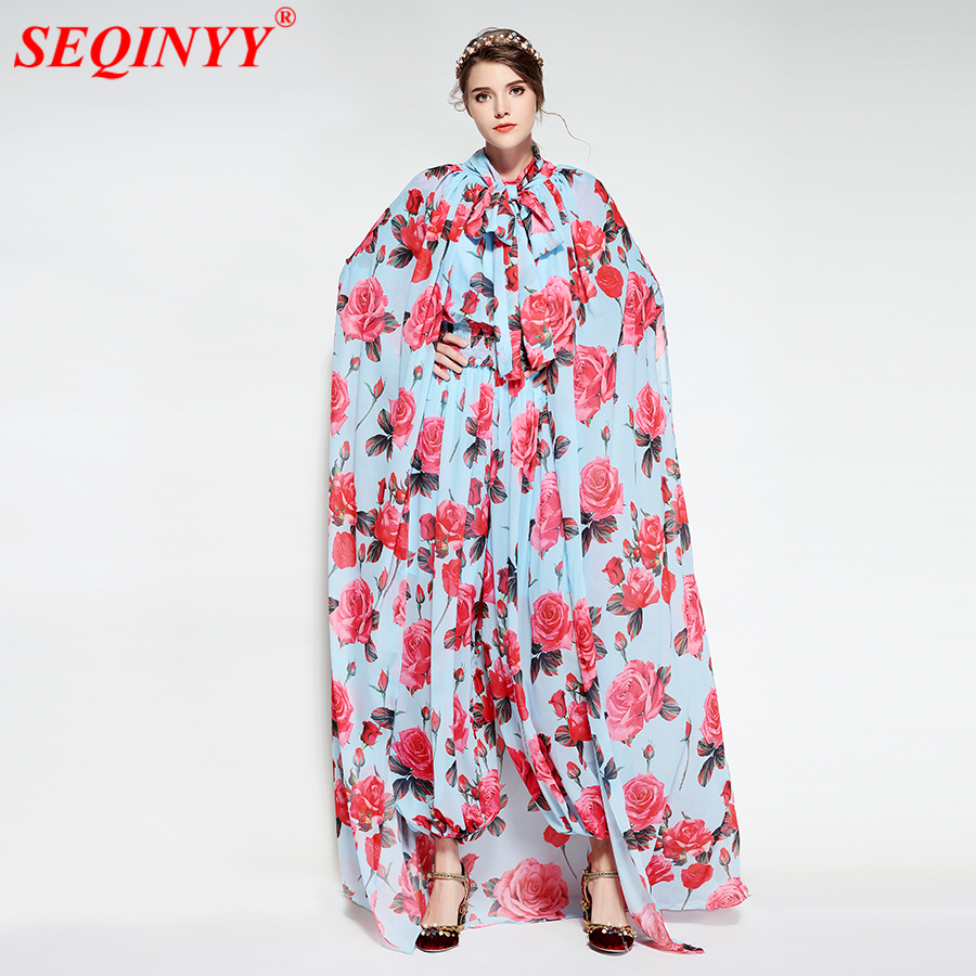 Fashion Print Regular Bodysuits For Women 2018 Spring New With Shawl Elastic Waist Roses Print Full Sleeve Slim Lantern Pants
