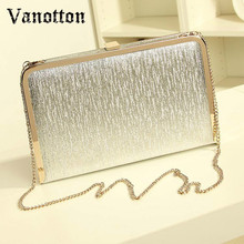 Fashion Women Evening Party Bags Bling Gold Silver Shimmering Large And Small Two Size Day Clutch Dinner Purse Wedding Bride Bag