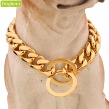 Doglemi 15mm 316L Stainless Steel Rose Gold Plated Cuban Dog Pet Chain Collar 24""