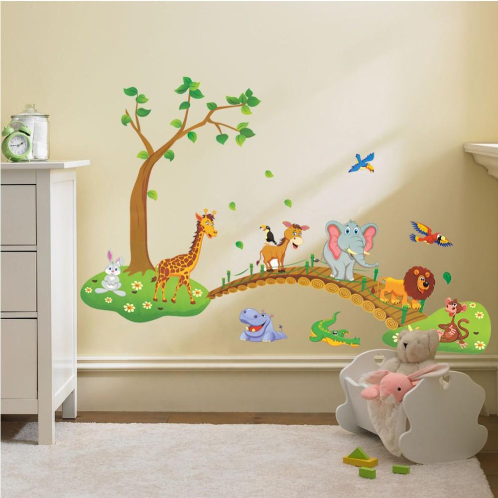 HTB1ewl7fYsTMeJjy1zbq6AhlVXab - 3D Cartoon Jungle wild animal tree bridge lion Giraffe elephant birds flowers wall stickers for kids room living room home decor