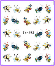 1X  Nail Sticker Cartoon Bee Water Transfers Stickers Nail Decals Stickers Water Decal Opp Sleeve Packing SY192