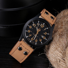 men's watches Relogio masculino Saat Vintage Classic Men's Waterproof Date Leather Strap Sport Quartz Army Watch