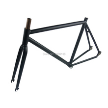 2016 newest matt black retro fixed gear bike frameset 52cm cycling track road bicycle frame set 700C vintage bike parts(China)