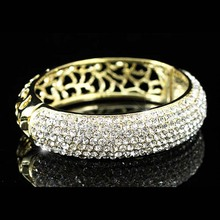 Vintage Style Bridal Wedding Party Pageant Gold Color Metal Bangle Bracelet use Austrian Crystal CB043