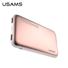 USAMS Power Bank 10000mAh Dual USB Mobile Phone Portable Charger Powerbank Backup External Battery for iPhone Samsung Xiaomi mi