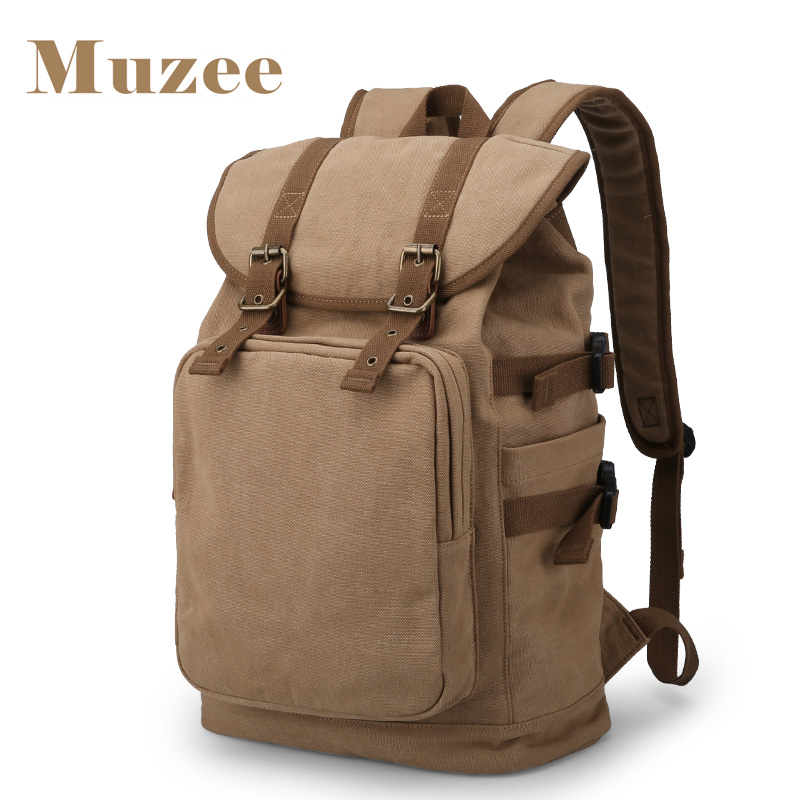 2017 Muzee New Canvas Hign Capacity Backpack Fit for 14-15.6 inch Laptop Backpack Brand Muzee Khaki Mochila<br>