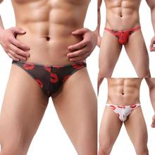 Buy Popular Style Mens Sexy Printed Underwear Shorts Novel Men Underpants Soft Briefs High Quality Elastic Knickers Slips Jockstrap