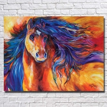 Free Shipping EMS Noble Lineage Wild Horse Handpainted Picture Oil Paintings Contton Thick Canvas Wall Painting With Framed