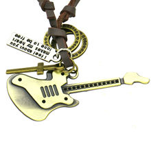 Pop Musical Character Guitar, Microphone Pendant Necklace Jewelry For Women Men Punk Retro Adjustable Leather Rope Ornament