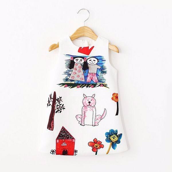 Girls Winter Dress Baby Girl Clothes Scrawl Pattern Cotton Girls Dresses 2015 Brand Designer Princess Dress Kids Clothes 2-10Y<br><br>Aliexpress