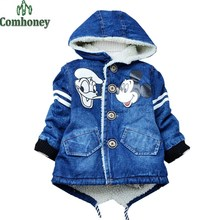 Boys Jacket Cartoon Mouse Denim Jacket Infant Girls Winter Coat Hooded Baby Boy Padded Jacket 3-6T Children Thick Outerwear