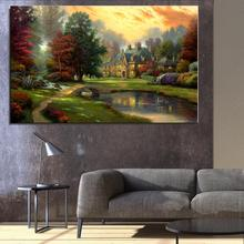 River House tree in the sky at dusk Landscape Mediterranean Oil painting Canvas Spray Frameless Unframed room