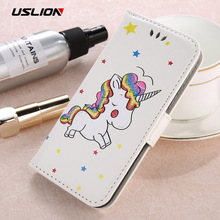 USLION Luxury Flip Leather Phone Case For iPhone 7 7 Plus Wallet Card Slots Stand Cover Cartoon Unicorn Cases For iPhone7 Plus