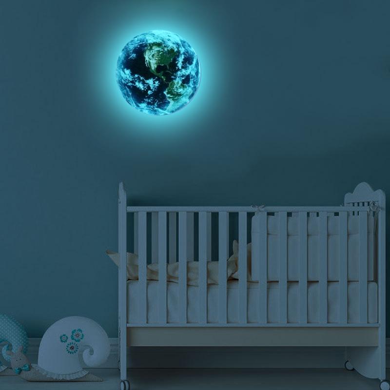 HTB1ex24RVXXXXaCXXXXq6xXFXXXp - Hot sale 1PCS new Luminous blue earth Cartoon DIY 3d Wall Stickers for kids rooms bedroom wall sticker Home decor Living Room