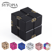 Premium Metal Infinity Cube Fidget Toy Aluminium Deformation Magical Infinite Cube Fidget Toys Stress Reliever for EDC Anxiety(China)