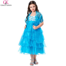 Grace Karin Flower Girl Dresses Formal Party First Communion Girls Clothing Toddler Tutu Cupcake Pageant Dresses For Kids Shawl