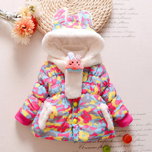 2016 Winter New Baby Girls Coat&Outerwear Kids Parkas Leopard Hooded Warm Cotton Children Clothing Toddler Girls 1-4years Scarf(China)