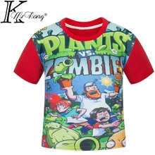 plants vs zombies clothing Children t shirts cartoon game pattern boys clothes O-Neck T-shirt plants vs zombies children DC776