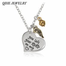 "QIHE JEWELRY ""you left your paws on my heart"" Angle Wing Paw Print Heat Charm Necklace Personalized Dog Paw Print Jewelry"