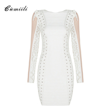 CIEMIILI 2017 Mesh Patchwork Full Length Women Dress Celebrity Elegant Lace Up Bodycon Mini Party Casual Vestidos Sexy Club Wear(China)