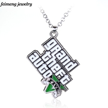Classic Game GTA Necklace Grand Theft Auto Pendant Necklace For Men Fans V Logo Necklace Statement Pendant Long Chain