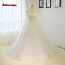 High Quality Customized Long Sleeves Lace Appliqued Sexy Open Back A-Line Wedding Dress 2017(China)