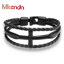 MKENDN High Quality Leather Cross Bracelet Men Bangle Genuine Leather Hand Chain Buckle friendship men women bracelet Pulsera(China)