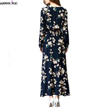 Womdee Women Spring Autumn Maxi Dresses Bohemia Round Neck Navy Long Sleeve Women elegant With Button Floral Long Party Dress