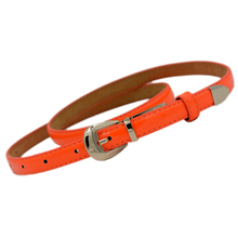 SYB 2016 NEW Modern Women's Candy Color Pu Leather Thin Belt Thin Skinny Waistband-Fluorescent orange