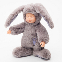 25CM Baby Silicone Reborn Dolls Toys Stuffed Animals Rabbit Bear Education Soft Plush Toy Simulated Babies Sleeping Newborn Toys(China)