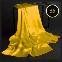 100% Silk Satin Long Scarf 55X180cm Pure Mulberry Silk Plain Color Silk Scarf Factory Direct Online Store 35 Yellow
