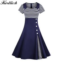 Buy Kostlich Striped Summer Dress Women 2017 Short Sleeve Hepburn 1950s Style Vintage Elegant Swing Party Dresses Plus Size Sundress for $17.15 in AliExpress store
