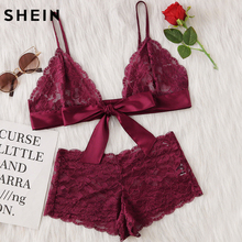 Burgundy Sleepwear Sexy Lingerie Set Bow Tie Front Sexy Pajama Set Lace Bralette Summer Sleepwear(China)
