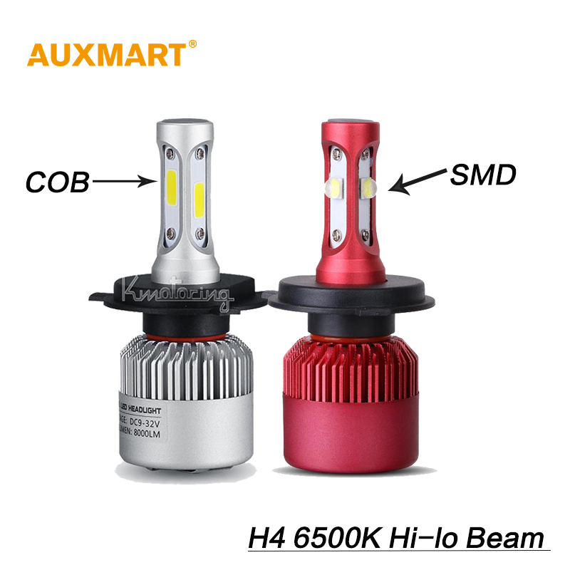 Auxmart H4 COB 72W 8000LM/SMD 80W 9600LM Car LED Headlight conversion kits Hi-Lo beam 6500K All-in-one Driving Fog lamps 12v 24v<br><br>Aliexpress