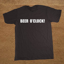 Brand Clothing Beer O'Clock Drunk Drunken Drinking Party Funny T Shirt Tshirt Men Cotton Short Sleeve T-shirt Top Camiseta