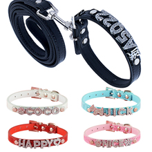 5 Colors Snake Pu Leather 10MM Free Letters and Charm Name Dog Pet Puppy Personalized Collar and Matched Leashes Lead(China)