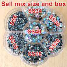 Mix 7 Sizes Approx 3000pcs/Lot with flower shape box ,Clear AB HotFix FlatBack Rhinestones,Hot Fix glitters crystal stones Y2782(China)