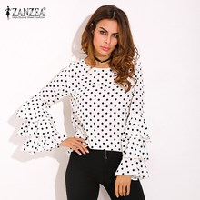 Plus Size ZANZEA Womens Polka Dot Ruffle Flouncing Long Flare Sleeves O Neck Blouse Fashion Office Female Tops Shirt Blusas 2017(China)