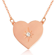 Pentagram Starburst Crystal in Heart Necklace Minimalist Rhinestone Pendant Necklace for Women BFF Simple Jewelry Gift(China)