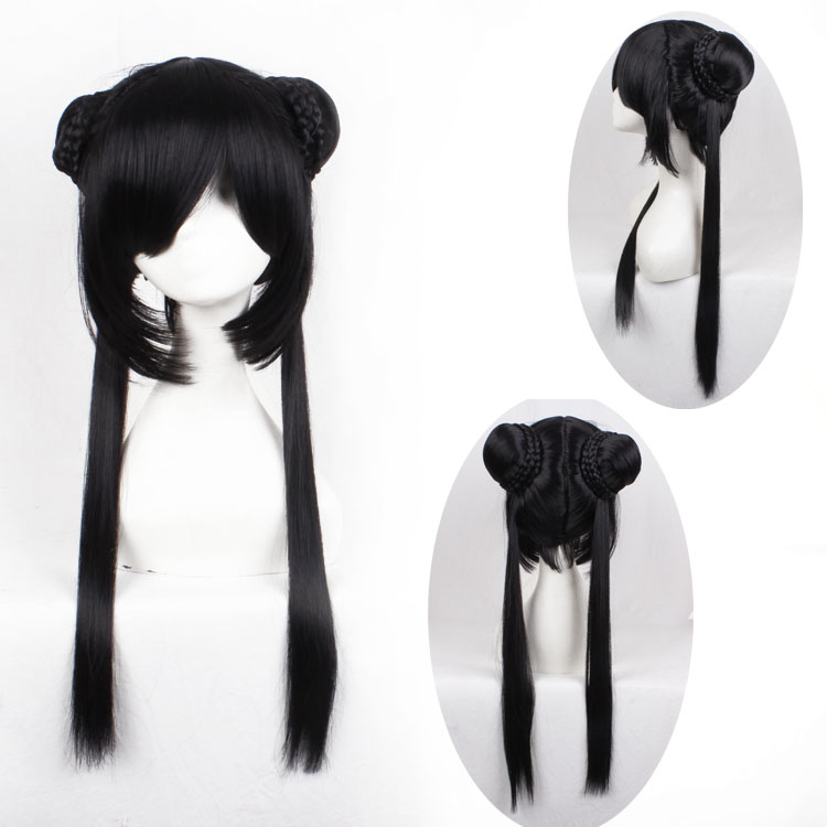 Black Long Party Synthetic Hair Real Hair Wig,Cosplay Classic Anime Wig<br><br>Aliexpress