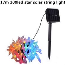 17m 100led star modeling Solar String Lights Outdoor Fairy Light String for Christmas Wedding Party Decoration with Solar Panel(China)