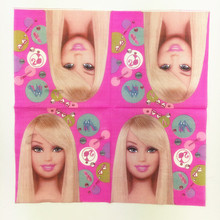 10pcs/lot 33*33cm bobby doll theme napkins Paper Tissue for kids birthday party decoration supplies(China)