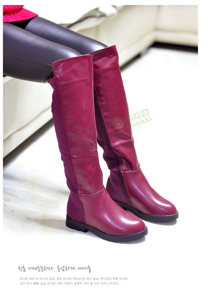 WENDYWU High quality boots length boots and velvet children totem leather high boots Thick warm anti-skid winter boots wine red<br>