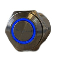 2pcs/lot Silver Metal Stainless Steel Blue LED Illuminated Latching Pushbutton Switch 16mm