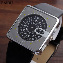 Paidu Black/Silver Quartz Silicone Band Wrist Watch Mens Boy Turntable Dial Digital Gift Wristwatches(China)