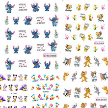 1 sheets New Cute Cartoon Nail Art Decorations Water Transfer Stickers Decals Wraps Manicure Polish Children Styles TRND106