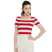 2016 Summer Fashion Sexy Club shirt O-Neck Cotton Stripe Slim Short Tops Sexy Navel Red and White stripe T shirt