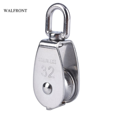 WALFRONT M32 Stainless Steel Pulley Single Wheel Heavy Duty Lifting Tools Swivel Pulley Block for Wire Rope Transmission Tool(China)