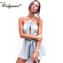 Buy Colysmo Grey Sexy Jumpsuit Women 2018 Rompers Womens Jumpsuit Backless Bow Tie Belted Halter Playsuit Summer Bohemian Romper