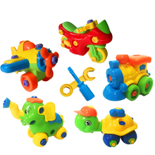 Plastic building blocks removable car aircraft airplane infant early childhood DIY screw nut assembly toys for children